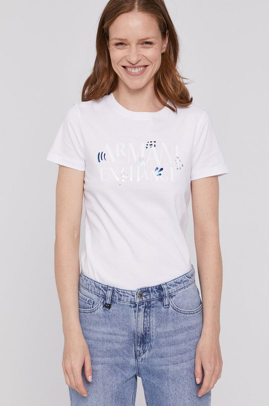 biały Armani Exchange - T-shirt Damski