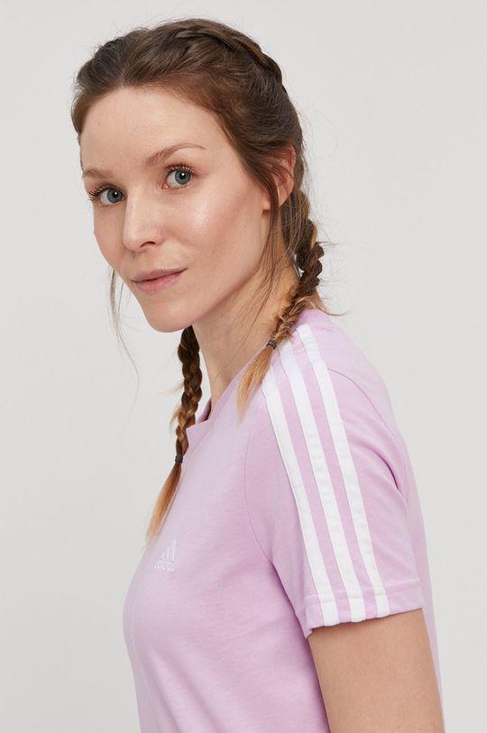 lawendowy adidas - T-shirt Damski