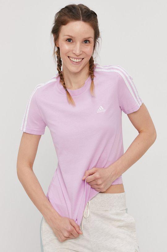 lawendowy adidas - T-shirt
