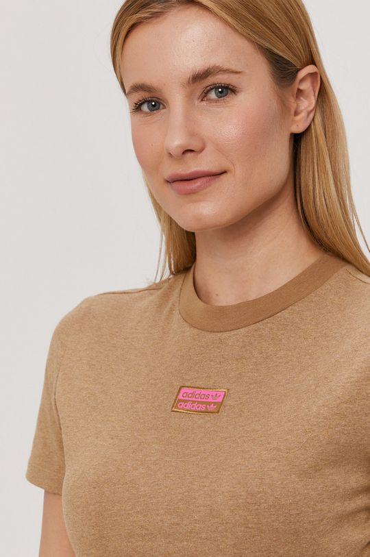 brązowy adidas Originals - T-shirt