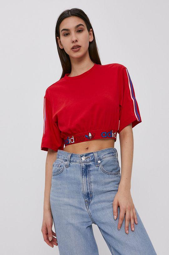 czerwony adidas Originals - T-shirt Damski