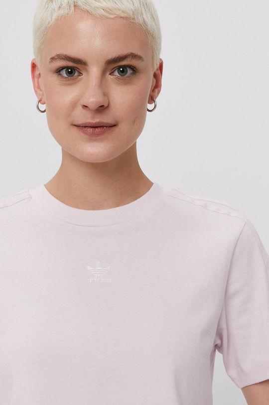 lawendowy adidas Originals - T-shirt