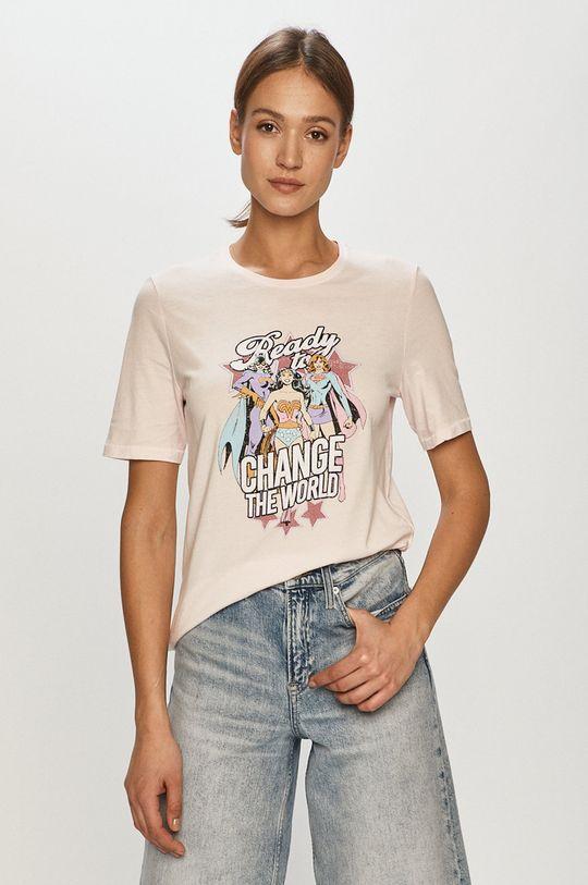 pastelowy różowy Only - T-shirt Damski