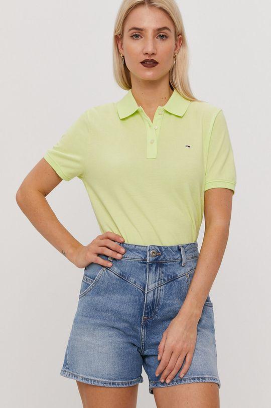 żółto - zielony Tommy Jeans - T-shirt Damski