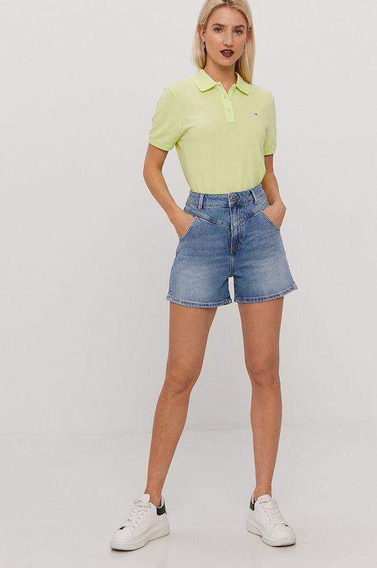 Tommy Jeans - T-shirt żółto - zielony