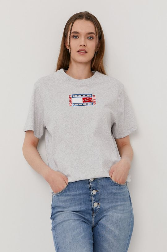 szary Tommy Jeans - T-shirt Damski