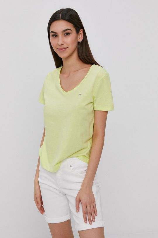 žlto-zelená Tommy Jeans - Tričko Dámsky