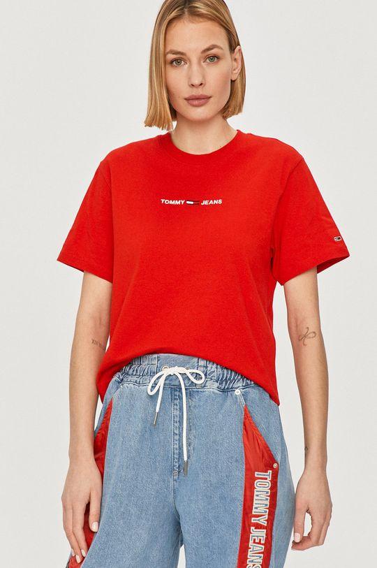 czerwony Tommy Jeans - T-shirt Damski
