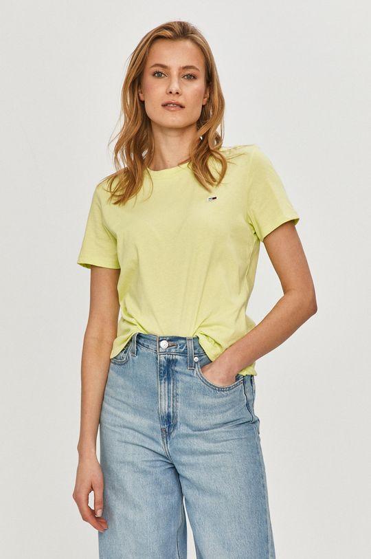 žlutě zelená Tommy Jeans - Tričko Dámský