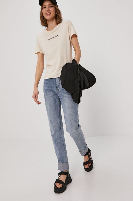 piaskowy Tommy Jeans - T-shirt Damski