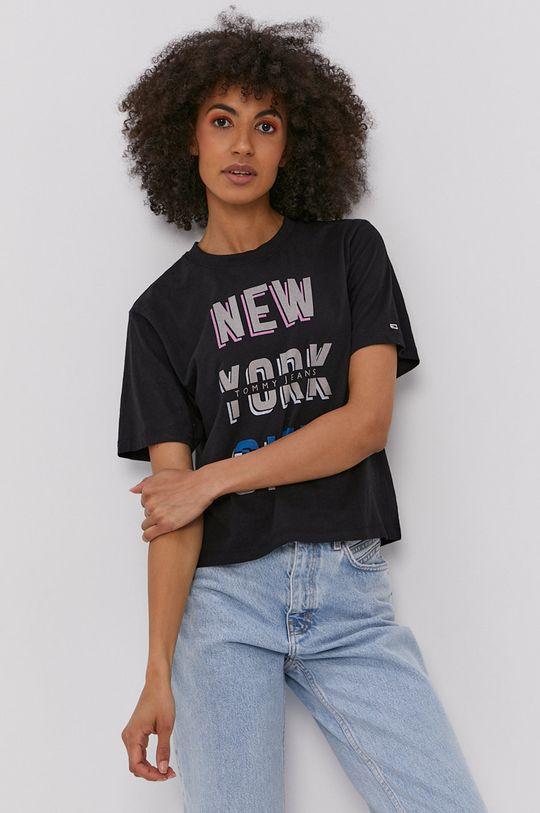 czarny Tommy Jeans - T-shirt Damski