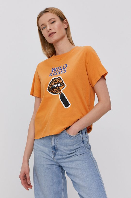 bursztynowy Jacqueline de Yong - T-shirt Damski
