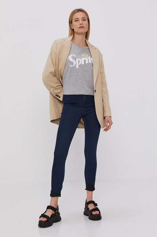 Jacqueline de Yong - T-shirt jasny szary