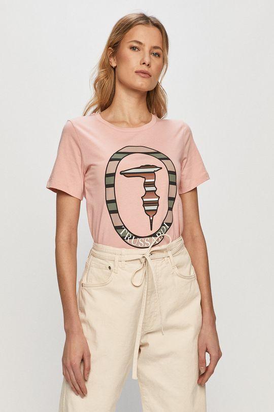 pastelowy różowy Trussardi Jeans - T-shirt Damski