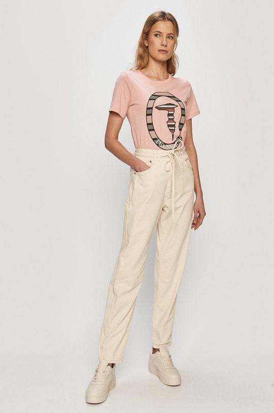 Trussardi Jeans - T-shirt pastelowy różowy