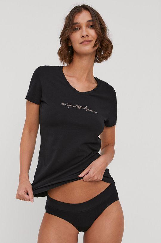 czarny Emporio Armani - T-shirt piżamowy Damski