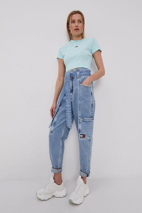 Tommy Jeans - T-shirt turkusowy