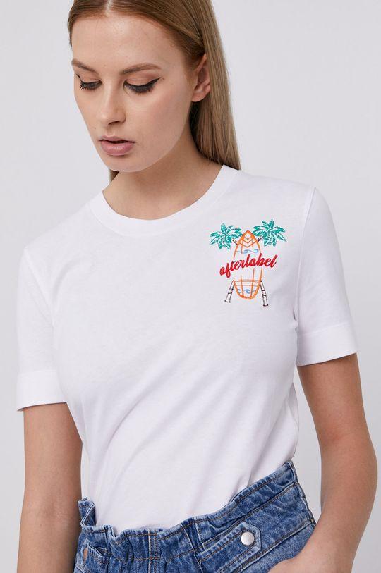 biały After Label - T-shirt