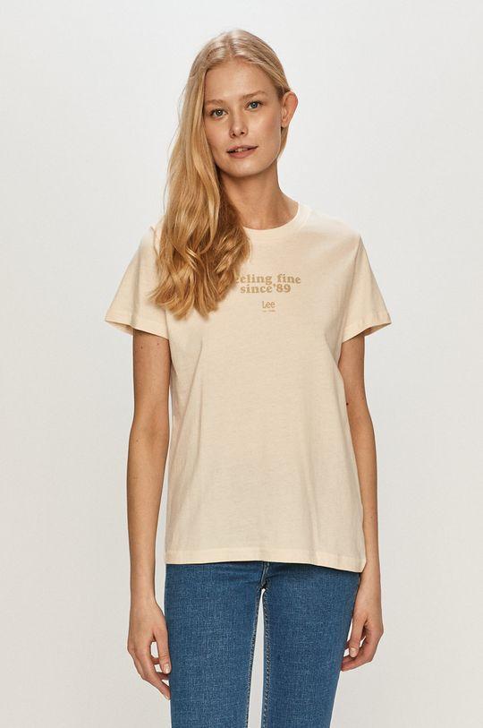 kremowy Lee - T-shirt Damski