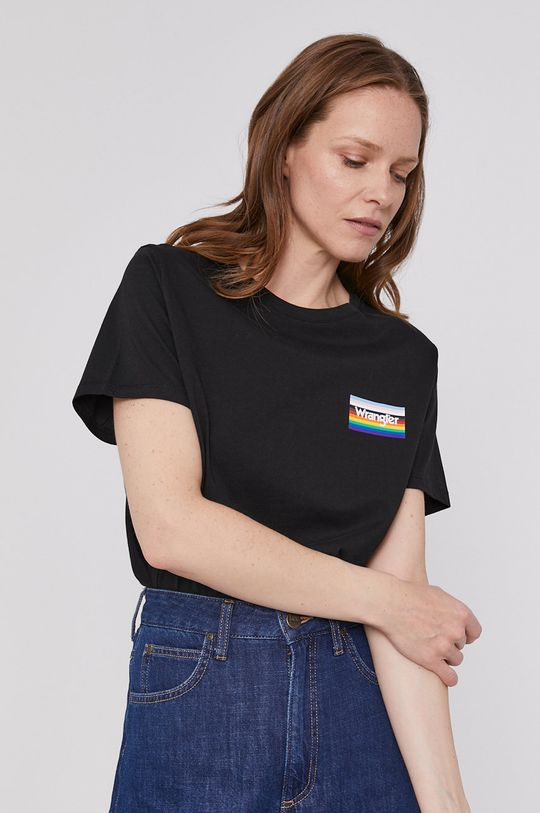 czarny Wrangler - T-shirt Damski
