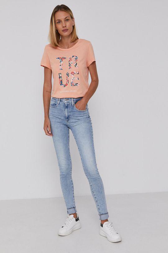 Mustang - T-shirt bawełniany brzoskwiniowy