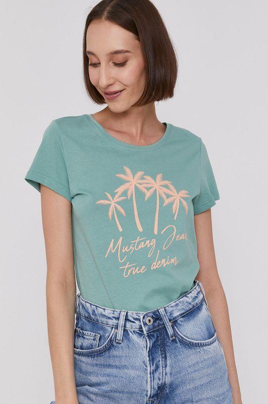 miętowy Mustang - T-shirt Damski