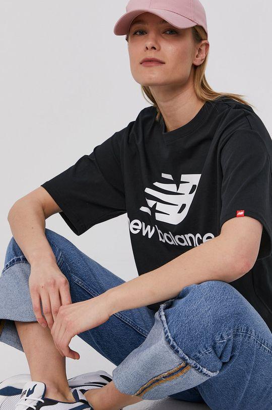 czarny New Balance - T-shirt Damski