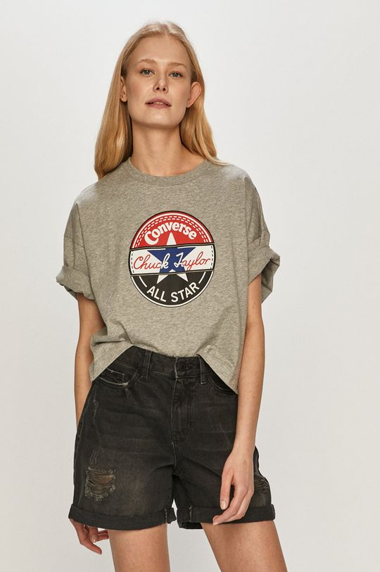 szary Converse - T-shirt Damski