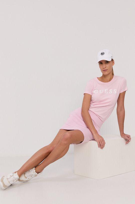 Guess - T-shirt bawełniany różowy