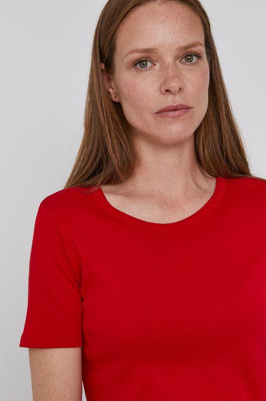 czerwony United Colors of Benetton - T-shirt bawełniany Damski