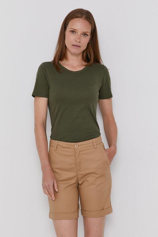 olivová United Colors of Benetton - Bavlnené tričko