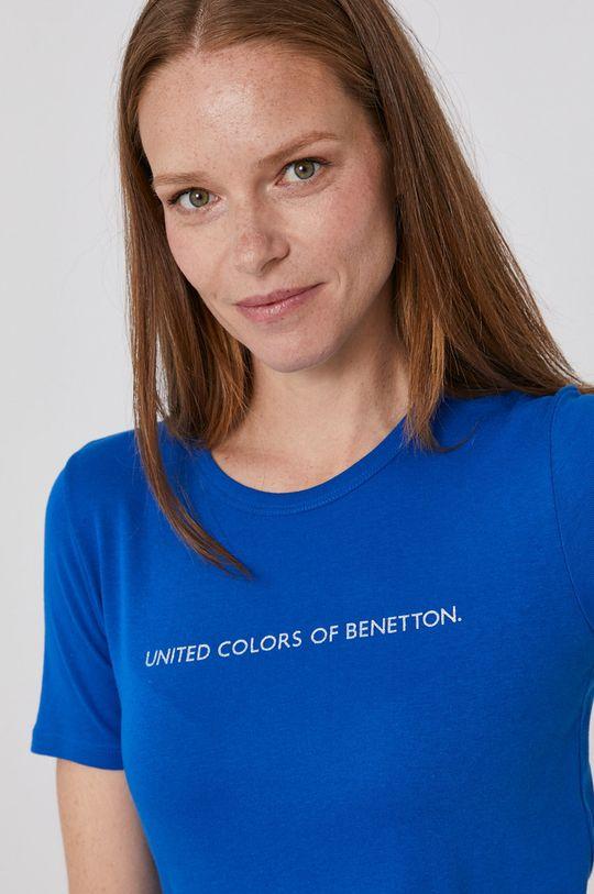niebieski United Colors of Benetton - T-shirt bawełniany Damski