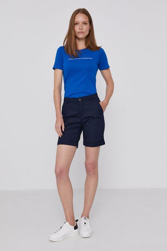 United Colors of Benetton - T-shirt bawełniany niebieski