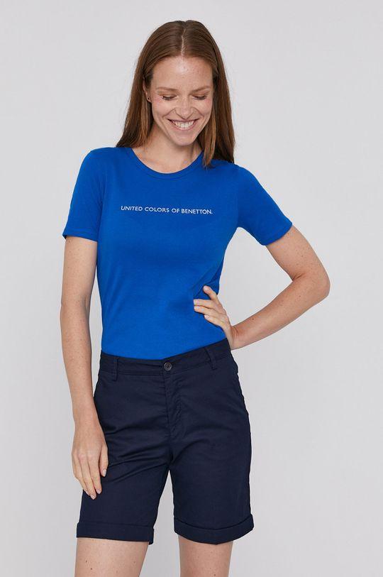 niebieski United Colors of Benetton - T-shirt bawełniany