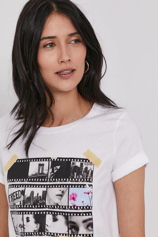 biały United Colors of Benetton - T-shirt bawełniany
