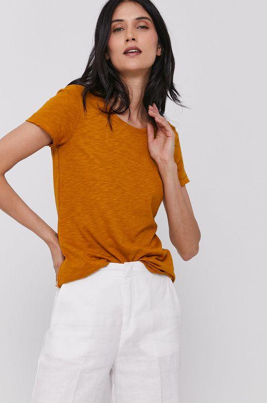 musztardowy Sisley - T-shirt Damski