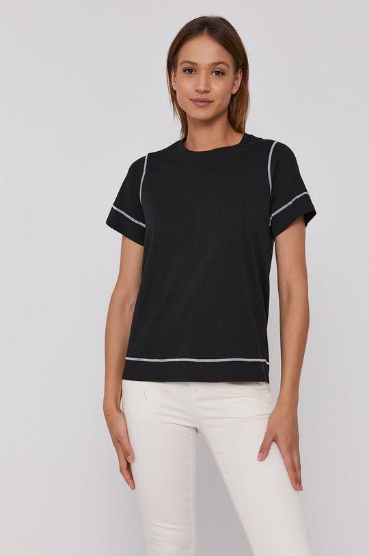 czarny Sisley - T-shirt Damski