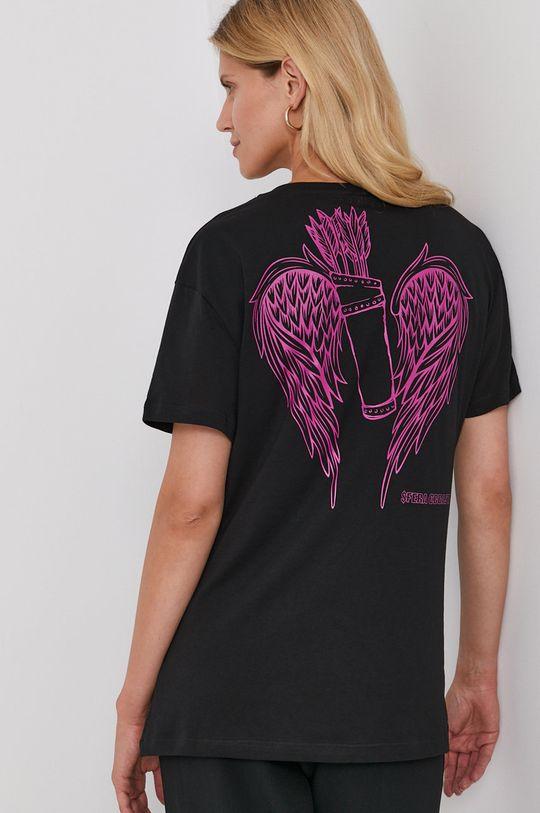 czarny Twinset - T-shirt bawełniany Damski