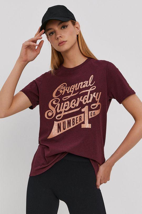 kaštanová Superdry - Tričko Dámský