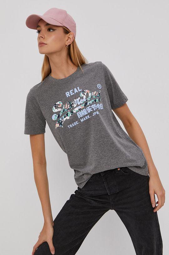 szary Superdry - T-shirt Damski