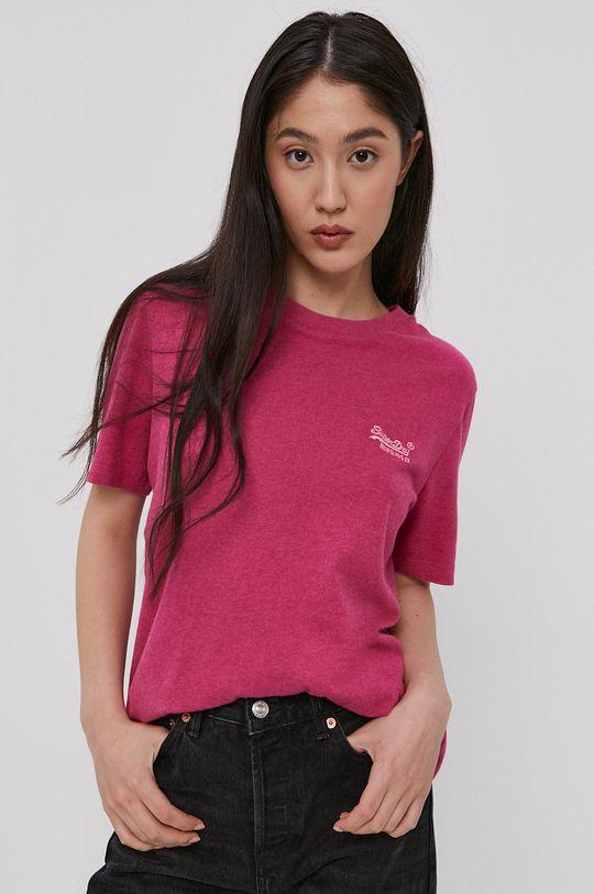 czerwony róż Superdry - T-shirt bawełniany Damski