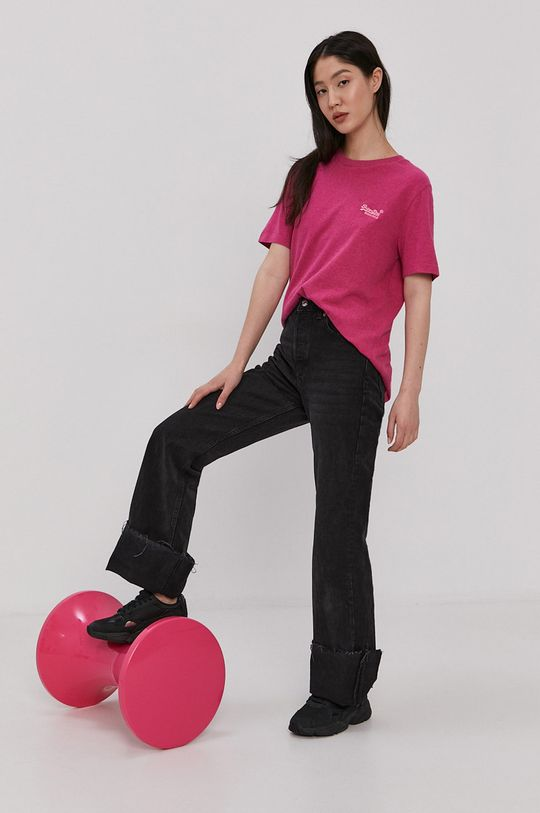 Superdry - T-shirt bawełniany czerwony róż