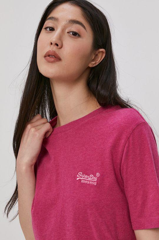 czerwony róż Superdry - T-shirt bawełniany