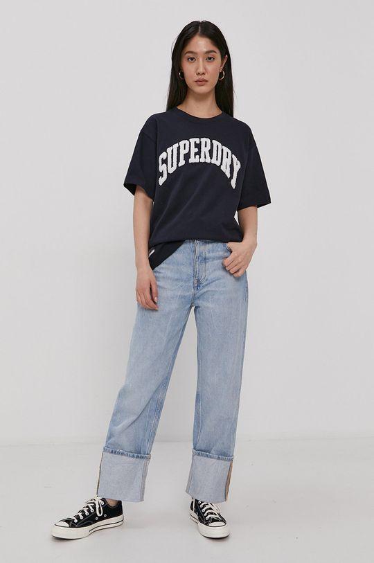 Superdry - T-shirt bawełniany granatowy
