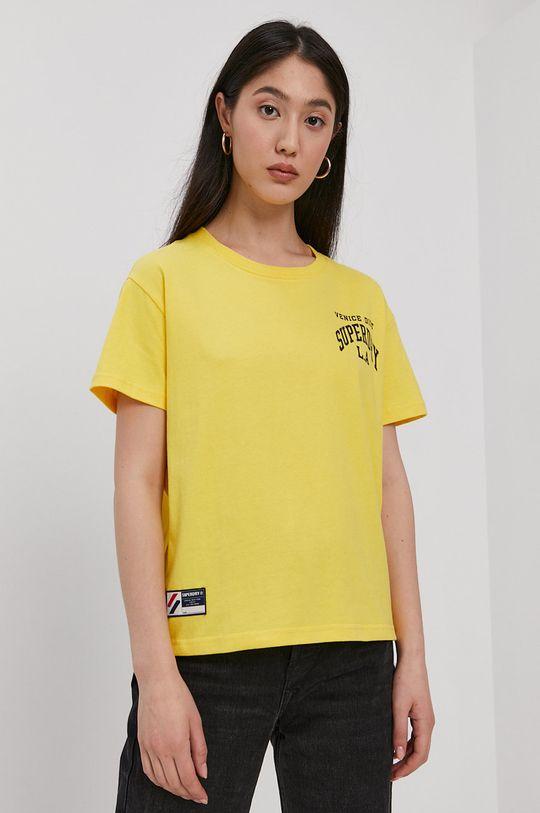 żółty Superdry - T-shirt bawełniany Damski