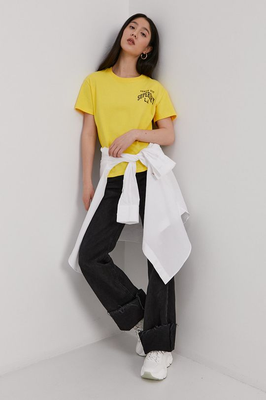 Superdry - T-shirt bawełniany żółty