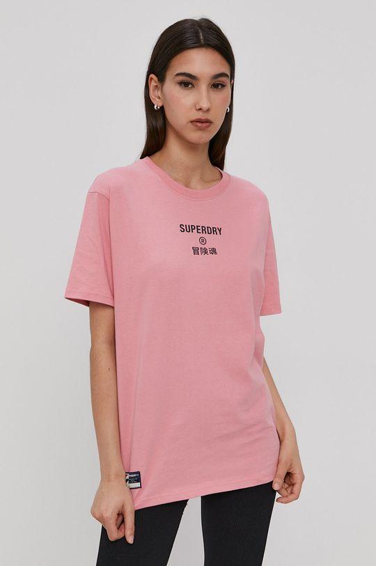 Superdry - T-shirt ostry różowy