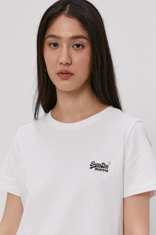 bílá Superdry - Bavlněné tričko