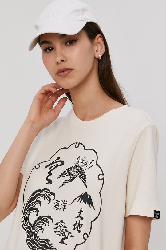 kremowy Superdry - T-shirt Damski