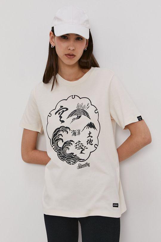 kremowy Superdry - T-shirt